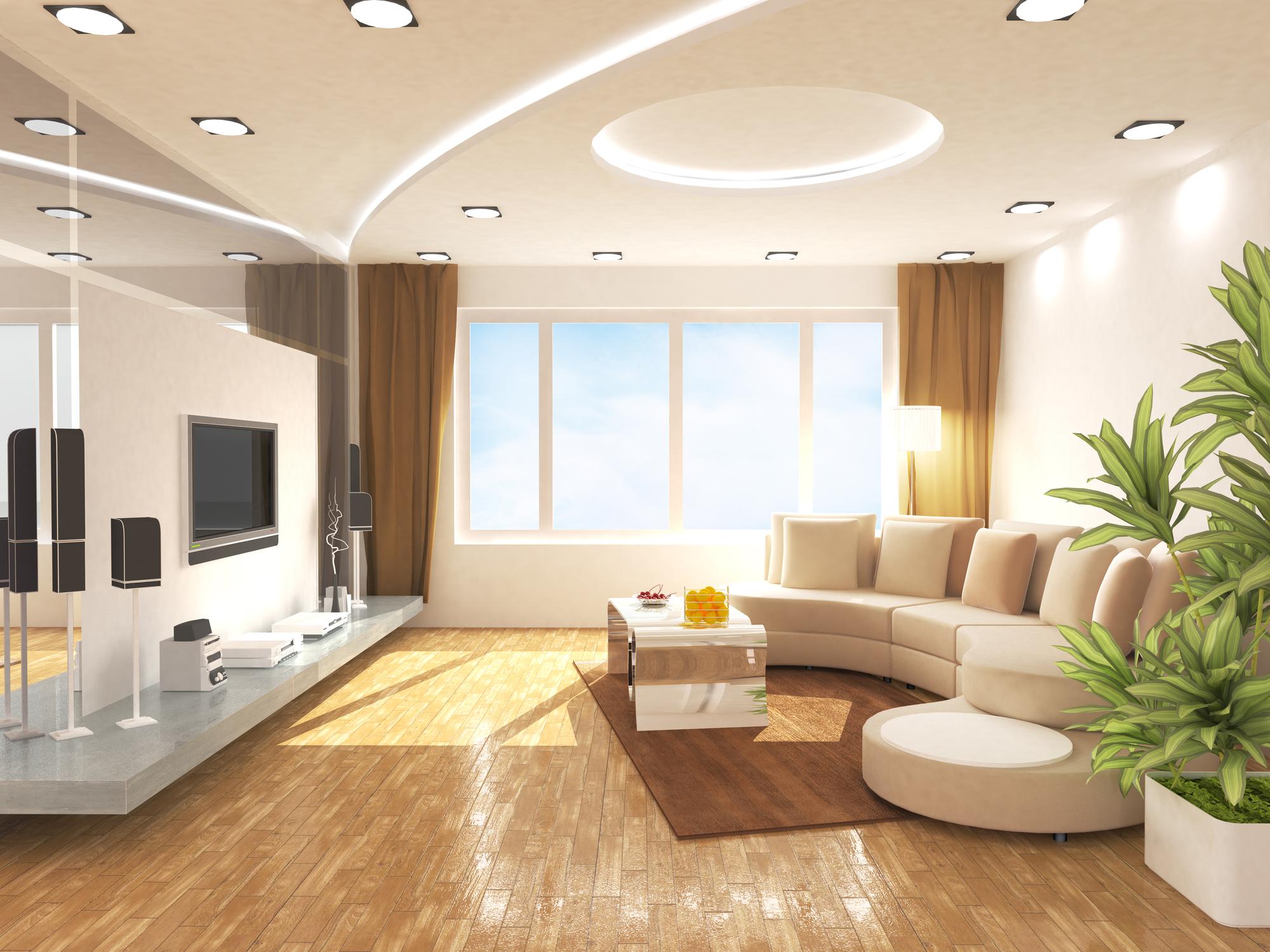 Gran salón moderno iluminado