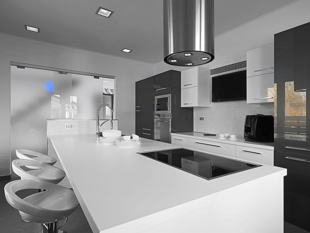 Cocina moderna blanca y gris